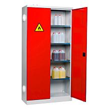 Kemikalieskåp SMV Högt ,4 hyllor B1000xD435mm 9002/Röd 3020