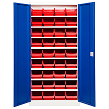 Backskåp ASPB Mod1 1980x980x570 Blå dörr Röd back