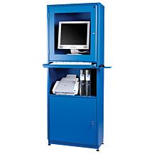 Datorskåp för plattskärm 642x295x1673 Blå RAL 5005