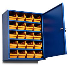 Förvaringsskåp 4 hyllor för vägg B660xH800xD205 Blå RAL 5005